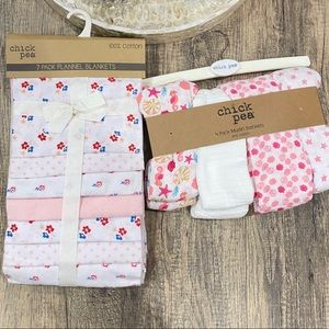 Chickpea Muslin and Flannel Blankets Pink Bundle 7